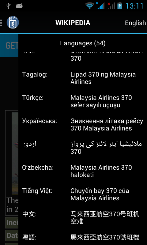 Language links for MH370